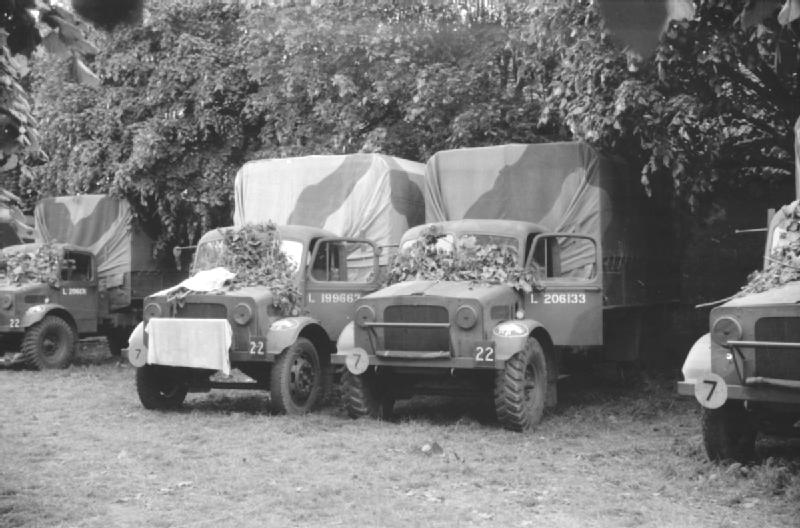 Bedford OY 3-ton trucks of 1st Armoured Division  parked under trees at Pacy-sur-Eure 23 May 1940.