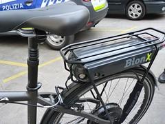 En la imagen se puede ver el detalle de la bicicleta eléctrica en la que se ve la batería