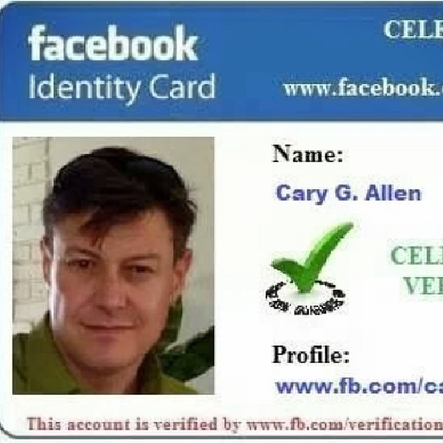 My celebrity verification ID Card from Facebook  #agentdre