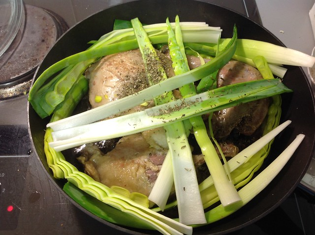 "add the leeks and ""bundle"" of spices"