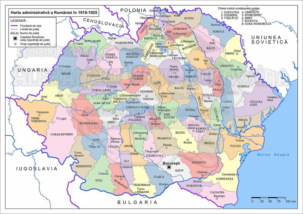 All Sizes Harta Administrativa A Romaniei In 1919 1925 2833