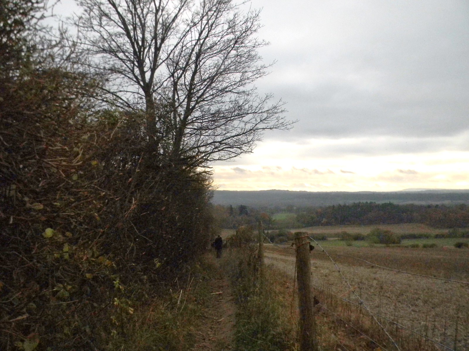 Fenced in path with view Guildford to Godalming