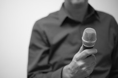 Man holding microphone | by stevebustin