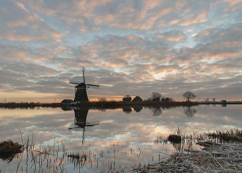 dutch design clouds sunset great light windmill frost rottemeren mroosfotografienl reflection peaceful view bleiswijk rottermeren
