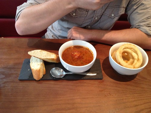 Tomato soup and onion rings   by Texarchivist