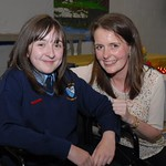 Young Anna Conway who is recovering from knee surgery and attended in a wheelchair, photographed here with teacher Jacqueline Kelly
