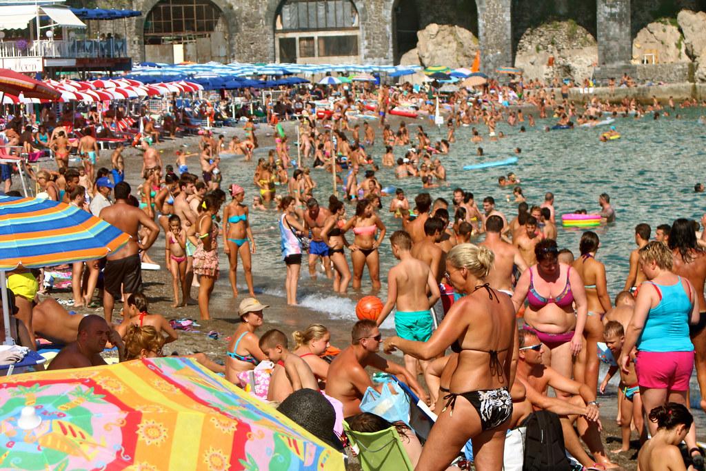 Crowded Beach In Amalfi Amalfi Coast Italy Boss Tweed