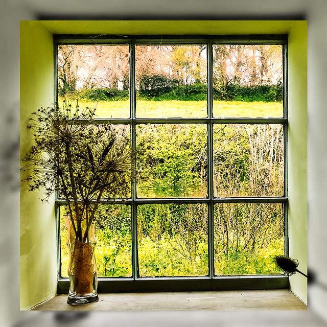 View through a rural window in Dorset, UK