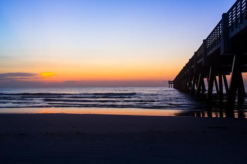 ocean beach sunrise pier surf florida jacksonville jax