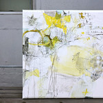 Mado ga aku no wo mat'teiru (2013) oil on canvas, ink, pigment, charcoal, pastel, coloured pencil 730x730x45mm