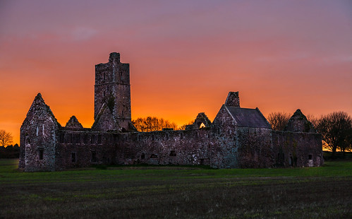 ireland sunset colour abbey rural countryside dusk cork ruin idyllic kilcrea