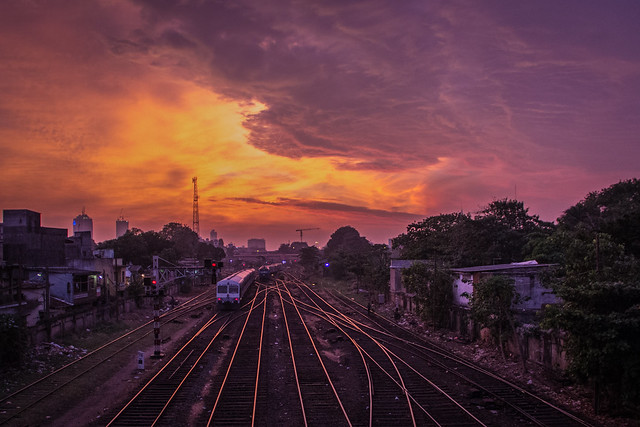 Dramatic Sunset over Railway Tracks