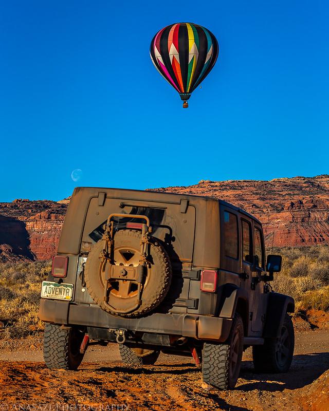 Jeep, Balloon & Moon