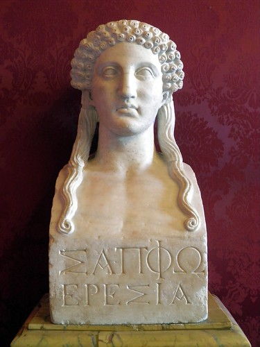 "Hermaic pillar with a female portrait, so-called ""Sappho""; inscription ""Sappho Eresia"" ie. Sappho from Eresos. Roman copy of a Greek Classical original, Capitoline Museum 