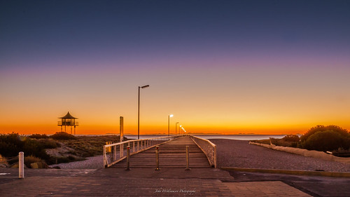 10secexposure blue jetty lifeguardtower semaphore sky sunset water orange southaustralia australia