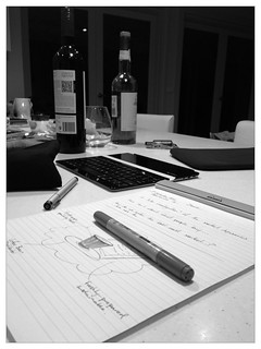 Markers, notepad, red wine, whisky... #nightshift #accoutrement