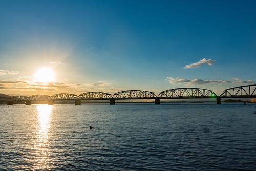 吉野川 吉野川橋 sun river 夕焼け sunset