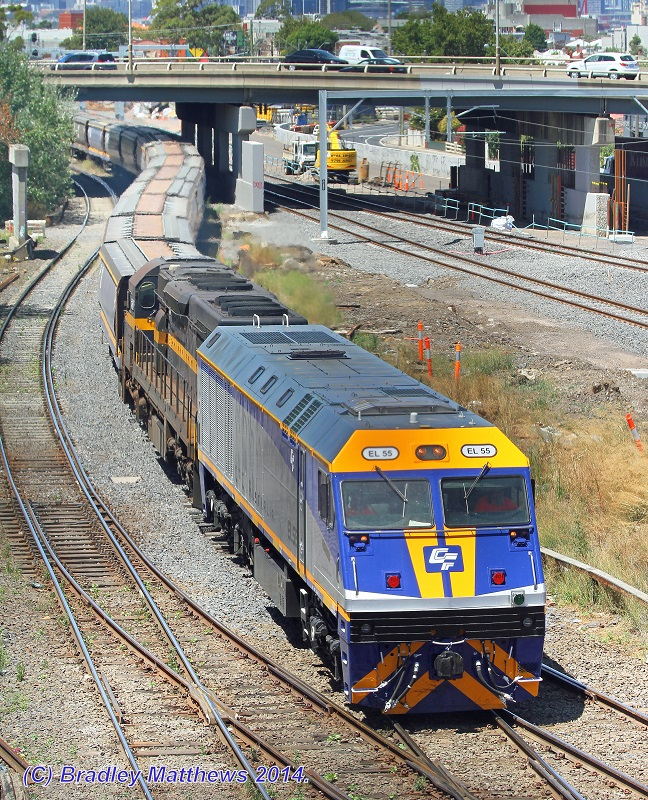 EL55-C501 with a down QUBE SG CFCLA grain to McIntyre Loop for run around at West Footscray (25/1/2014) by Bradley Matthews