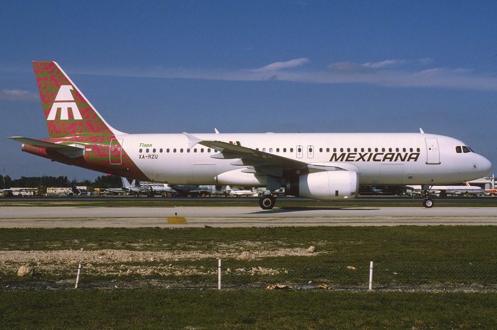Mexicana Airbus A320-231; XA-RZU@MIA, February 1993