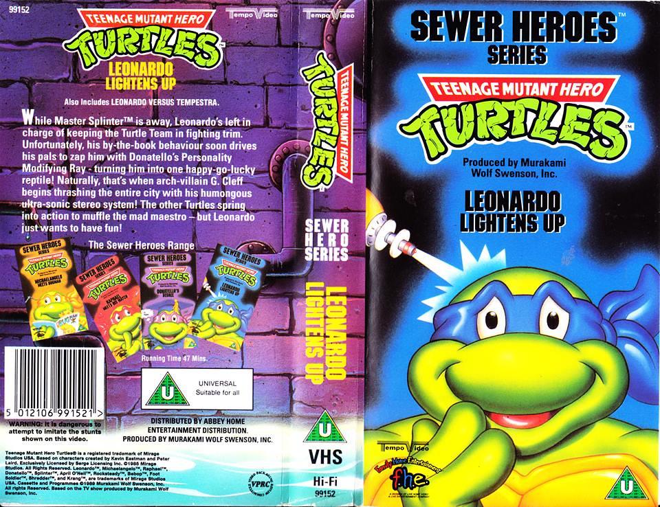 """TEMPO VIDEO ::  """"TEENAGE MUTANT HERO TURTLES"""" 'SEWER HEROES' SERIES - """"LEONARDO LIGHTENS UP"""" ..U.K. VHS sleeve (( 1994 ))  [[ Courtesy of HERO ]] by tOkKa"""