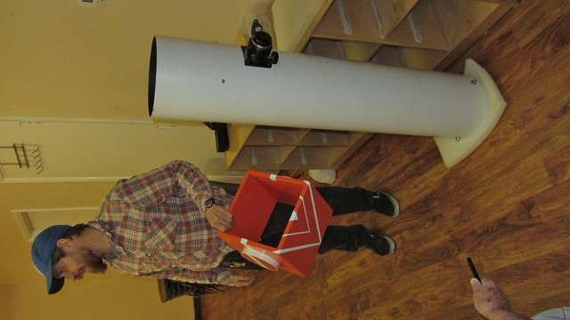 IMG_5009 ChrisU w flaming tomato dobsonian telescope and bearing box