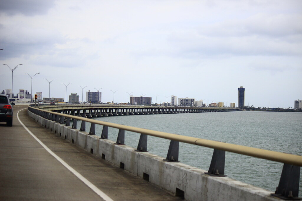 queen isabella bridge heading towards south padre island