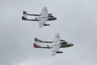 IMG - 154  August 2016 Dunsfold;  De Havilland Vampire FB52.  LN-DHY & T55 LN-DHZ.  Norwegian Air Force Historical Squadron | by markbryan027@outlook.com