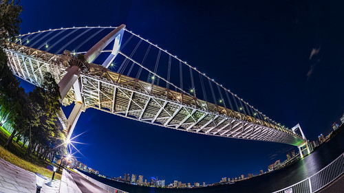 rainbowbridge odaiba shibaura tokyo japan nightshot nightview panorama fisheye sky city bridge レインボーブリッジ 芝浦 台場 東京 日本 夜景 パノラマ 魚眼 風景 空 橋