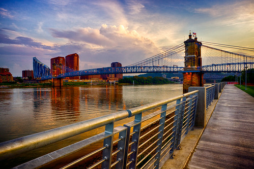 city bridge sunset ohio sky water skyline clouds buildings river downtown dusk cincinnati sidewalk thunderstorm riverfront railing hdr highdynamicrange covington roebling