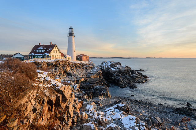 Portland Head Light Snow & Blue Sky