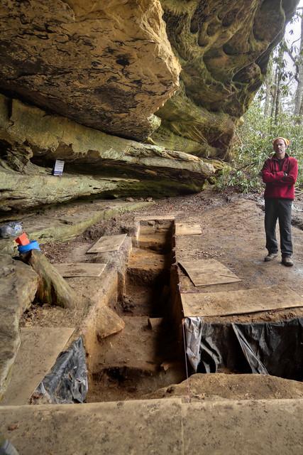 Rock shelter excavation 2, Jay Franklin, Pickett SF, Pickett County, Tennessee