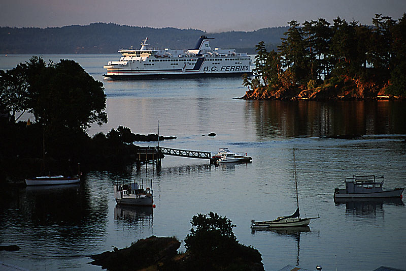BC Ferry passing Canoe Cove, Sidney, Greater Victoria, Vancouver Island, British Columbia, Canada