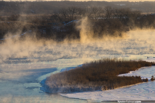 statepark morning blue trees winter sky snow cold ice water grass fog sunrise island dawn early illinois frost december view snowy scenic sunny frosty steam clear vista flowing icy frigid utica starvedrock illinoisriver eaglecliff kevinpalmer takumar135mmf25 lasallecounty pentaxk5