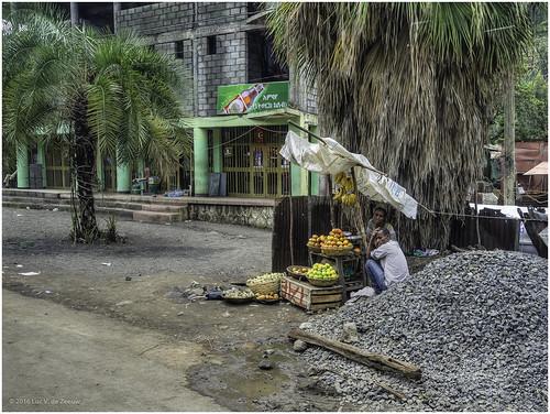 ethiopia fruit seller selling shop stones street tree weldiya amhara