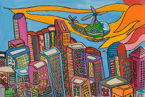 "SoHo with Helicopter (16"" x 24"" acrylic on canvas)"
