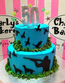 Duck Hunting Themed 50th Birthday 2 Tier Cake With Hunter Silhouette