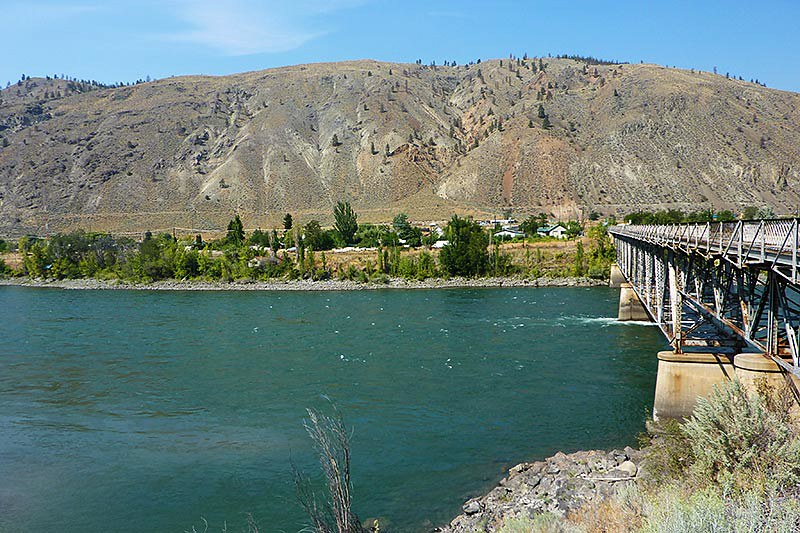 The old Spences Bridge on the Thompson River, Thompson Okanagan, British Columbia. The bridge was deemed a safety risk and removed in March 2015.