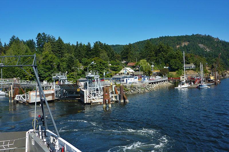 BC Ferry departing Fulford Harbour, Saltspring Island, Gulf Islands, Georgia Strait, British Columbia, Canada