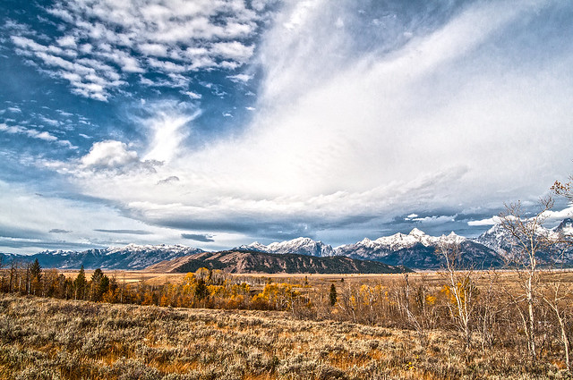 Expansive sky over Jackson Hole and the Tetons