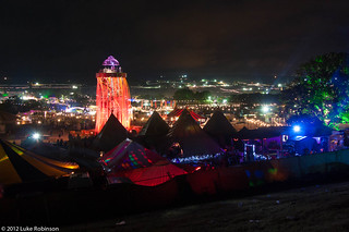 Night View of the Ribbon Tower, the Park, and Glastonbury Festival | by Luke Robinson