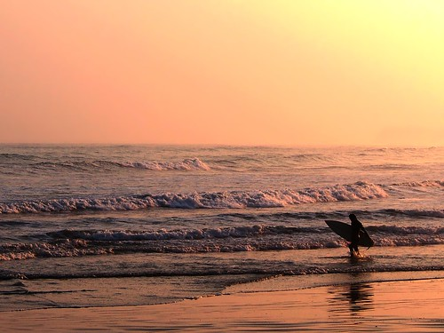 ocean sea twilight surf surfer wave pacificocean orangesky sunsetlight