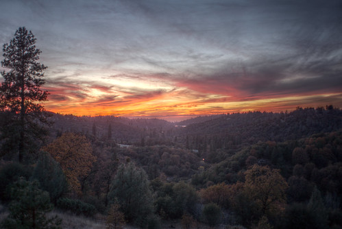 california trees sunset red orange night clouds cloudy pines roughandready lakewildwood