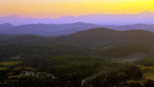 sunset mist landscape coorg madikeri kodagu rajaseat
