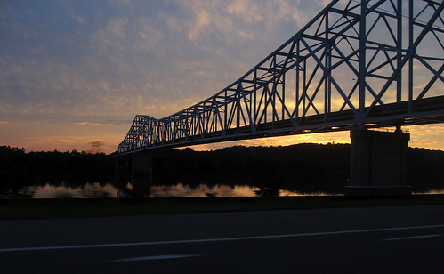 trip travel bridge sunset ohio vacation sky reflection clouds reflections river landscape drive evening landscapes twilight driving skies crossing bridges sunsets roadtrip structure reflected wv westvirginia traveling span ohioriver evenings nightfall ravenswood ohioriverbridge ravenswoodbridge
