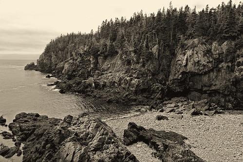 bw beach monochrome landscape seaside rocks quiet maine vista deserted rugged lubec platinumtoned quoddyheadstatepark pawshredding