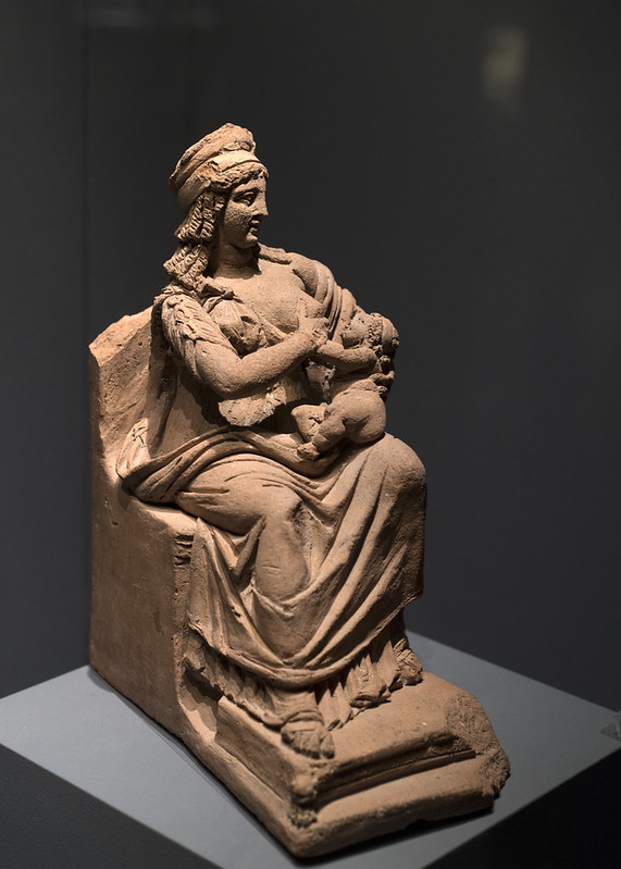 Roman terracotta statuette of Isis lactans, from Herculaneum