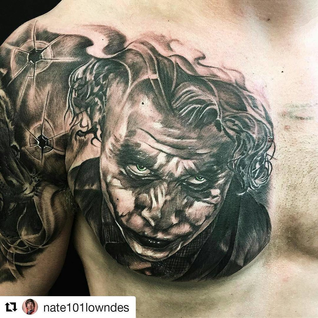 Black And Grey Joker Tattoo At Nate101lowndes Second