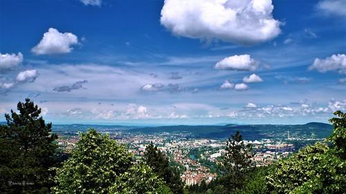 city outdoor landscape clouds