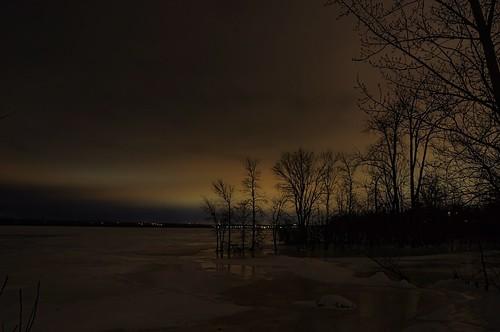 sky canada tree ice night river dark landscape lights frozen cloudy ottawa aurora northern borealis beyondhue
