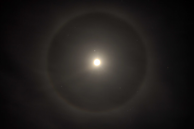Moon halo as seen from White County, Tennessee